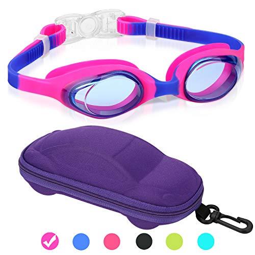Kids Swim Goggles Swimming Goggles for Boys Girls Kid Age 3-12 Child Colorful Swim Goggles Clear Vision Anti Fog UV Protection No Leak Soft Silicone Nose Bridge Protection Case Kids' ()