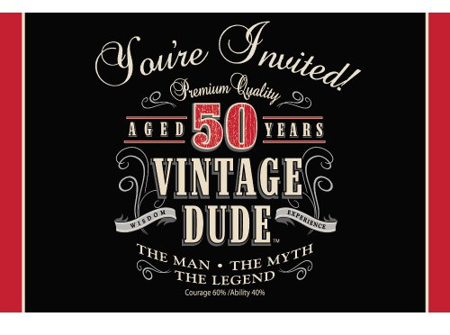Creative Converting Vintage Dude 8 Count 50th Birthday Party Invitations ()