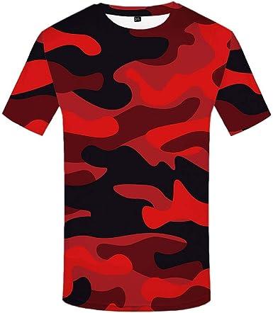 Luotears Camiseta 3D Camuflaje Camisa roja Hombre Ropa Casual Casual Líneas Personalizadas: Amazon.es: Ropa y accesorios