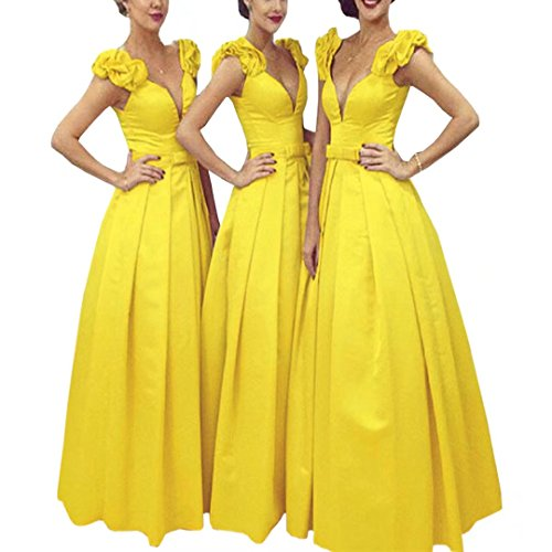Long Neck Dresses Yellow Prom Deep Dimei Line Cap Cocktail Bridesmaid A Long 2018 Satin Party Dresses V Sleeve Dresses wXSCBCUq