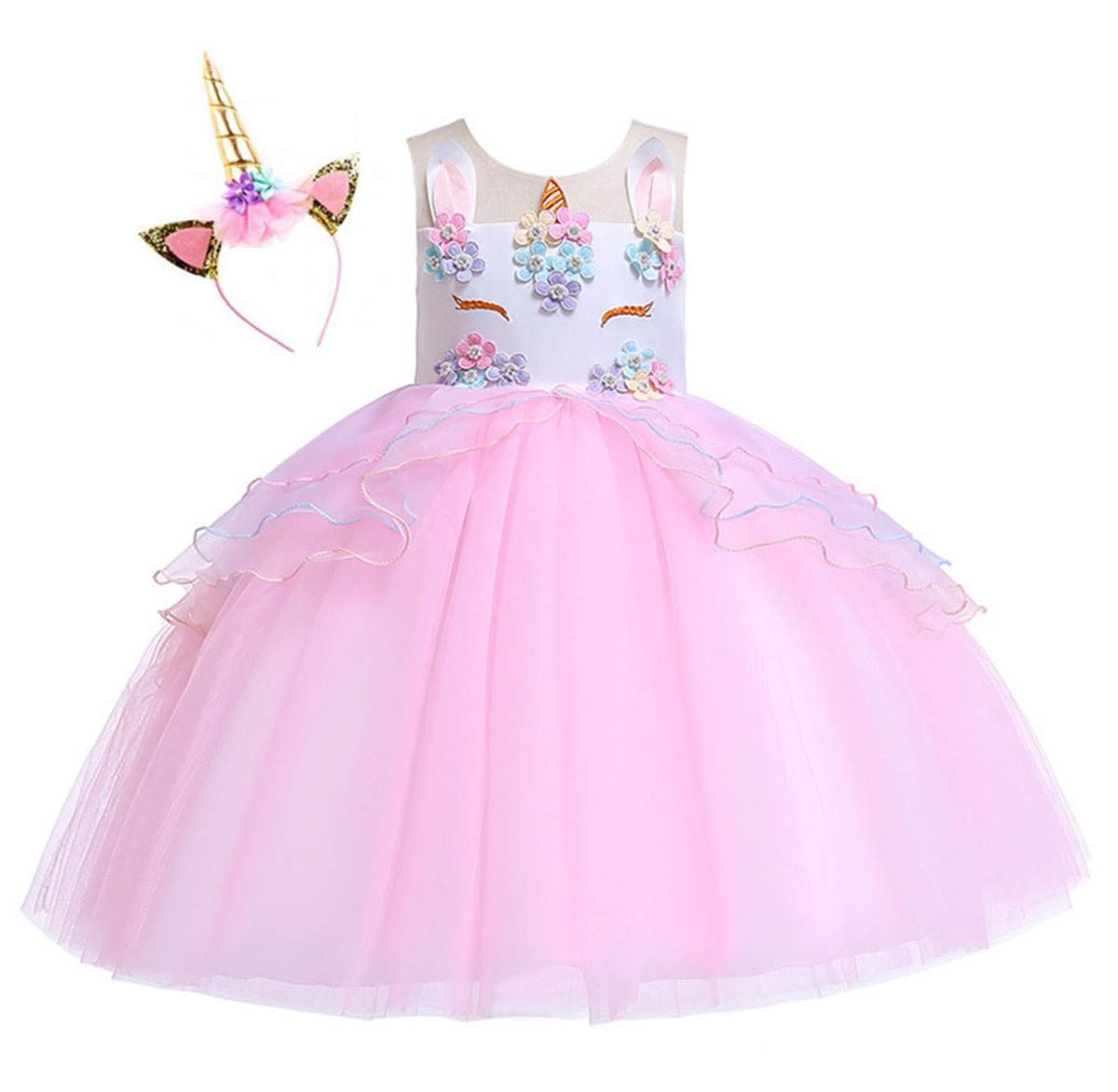 Kokowaii Fancy Girls Unicorn Dress up Fancy Costume for Pageant Party