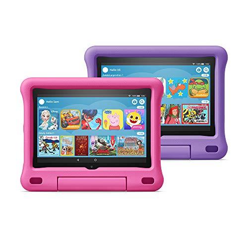 Fire HD 8 Kids Edition tablet 2-pack, 8″ HD display, 32 GB, Blue/Purple Kid-Proof Case