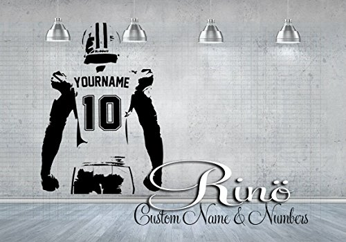 Custom Football (Football Wall Decal - Custom Name American Football Wall art - Choose NAME & JERSEY NUMBERS personalized Large Player jersey Vinyl sticker decor kids boy bedroom)
