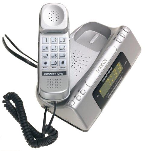 Metallic Silver Conair TCR200MS Clock Radio Telephone