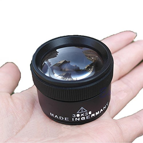 Dolphin fashion 30X 36mm Portable Optics Loupes Magnifier Magnifying Glass Lens Microscope for Jeweler Coins Stamps (Black)