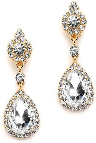 Mariell Gold Teardrop Austrian Crystal Dangle Chandelier Earrings for Bridal, Prom, Pageant & Weddings
