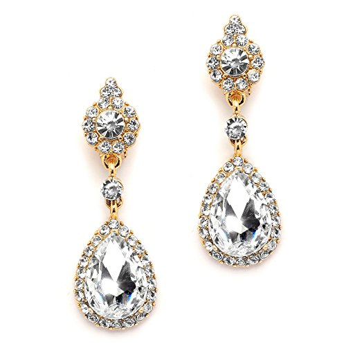 Mariell Gold Clip-On Earrings with Austrian Crystal Teardrop Dangles - Prom & Bridal Chandelier Clip - Earrings Rhinestone Clip