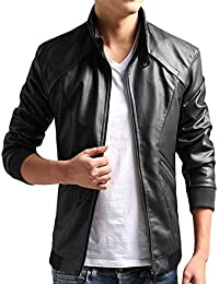 ZSHOW Men's Casual Faux Leather Jacket Waterproof Motorcycle Jacket Windbreaker