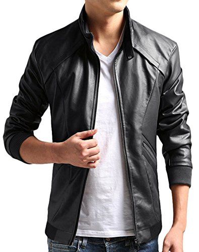 ZSHOW Men's PU Faux Leather Moto Biker Jacket Stand Collar Relaxed Style Zipper Coat(Black,Small) (Men Coat Leather Dress)