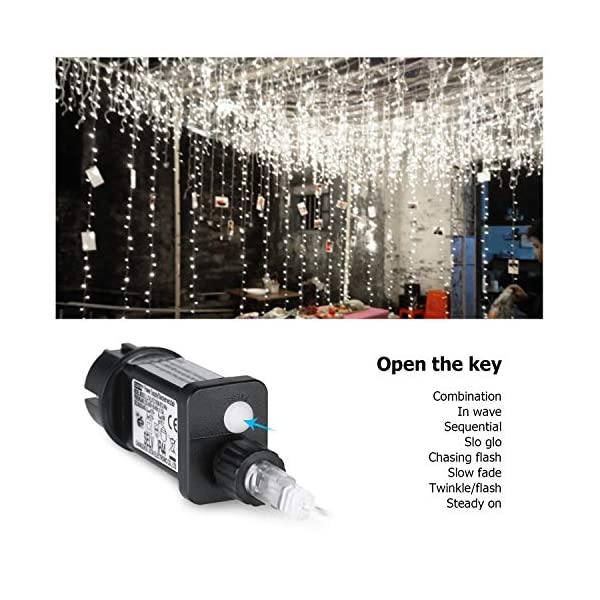 600 LED Catena IDESION 6M x 3M Tenda di Luci con 8 Modalità di Illuminazione, Barriera Fotoelettrica a LED per Camera or Esterno Luci Decorative Luci Natalizie per Atmosfera Romatica(Bianco Freddo) 4 spesavip