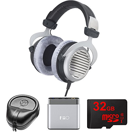 Electronics Consumer Slappa (BeyerDynamic DT 990 Premium Headphones 600 OHM (483966) with Slappa HardBody Headphone Case, FiiO A1 Port. Headphone Amplifier & 32GB MicroSD High-Speed Memory Card)