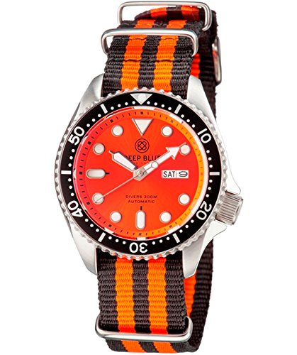 Orange Automatic Dial Divers (Deep Blue DIVER 300 Automatic watch 44mm Steel case Nylon strap Orange dial)