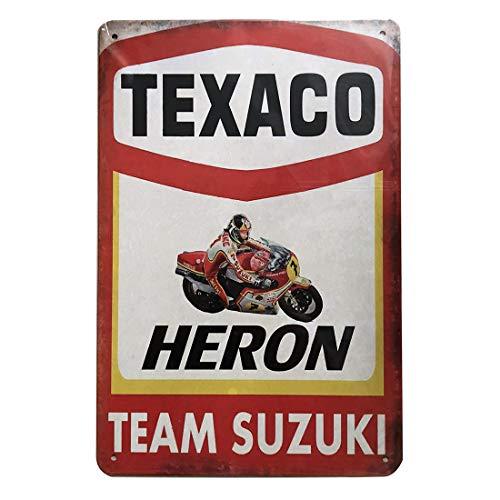 - Retro Vintage Tin Sign, Texaco Heron Team Suzuki, Wall Metal Posters Plaques for Home Bar Garage Man Cave, 8'x12'/20x30cm