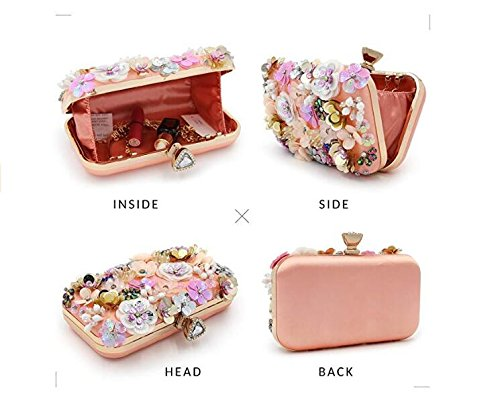 Sequins Evening Satin Clutch Pink Women Clutches Evening Bag Colorful Flower w7X01q