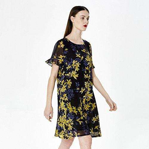 Silk Scoop Women`s Sleeve Dress Dresses Printed Neck cotyledon Short q45waFfxwt