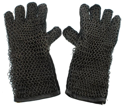 RedSkyTrader Mens Chainmail Leather Gauntlet Gloves One Size Fits Most Black
