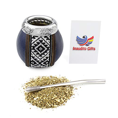 Inaudito Gifts Yerba Mate Kit. Handmade Mate Gourd (not Cured) and Straw (bombilla) to Drink Yerba Mate. Leather Edition. Family Size