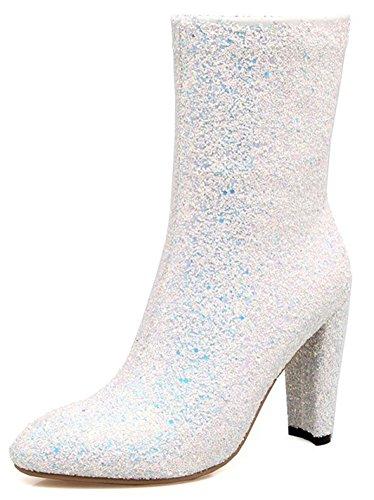 Aisun Womens Glitter Lovertjes Ronde Neus Inside Zip Up Chic Hoge Hak Laarzen Halflange Kuit Met Rits Wit