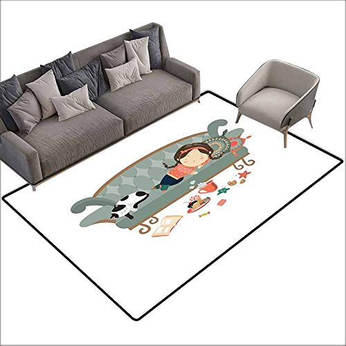 Floor Bath Rug Kitten Sleeping Young Girl with Her Cat at Sofa Coffee Cookies Book and Candy Pastel Colors Quick and Easy to Clean W5' x L7'10 Multicolor