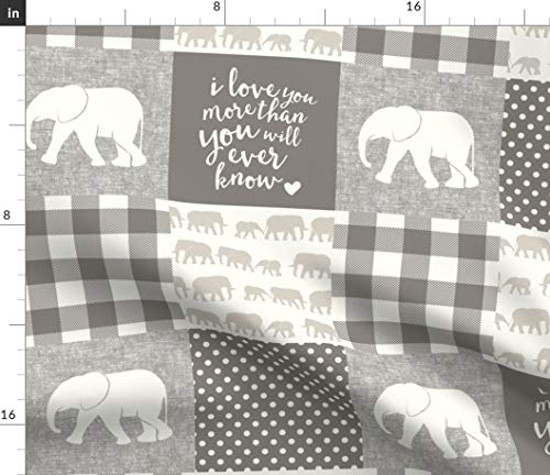 (Spoonflower Elephant Fabric - Beige Cream by Elephant Patchwork I Love You More Little Arrow Cream Trendy Baby Print on Fabric by The Yard - Fleece for Sewing Blankets Loungewear and No-Sew Projects)