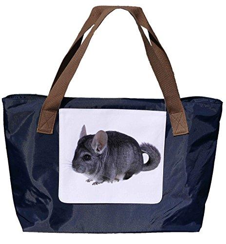 Shopper /Schultertasche / Einkaufstasche / Tragetasche / Umhängetasche aus Nylon in Navyblau - Größe 43x33cm - Motiv: Chinchilla dunkelgrau Porträt - 01