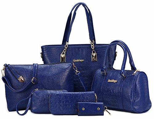 Womens 2 Piece Tote Bag Leather Handbag Crossbody Bags Set (Blue) - 4