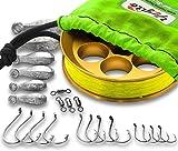Cheap Yoyito Saltwater Aluminum Hand Line Reel Pocket Emergency Survival Fishing Kit (Gold Reel / 30 lb Hi-Viz Yellow line/Bright Green Case)