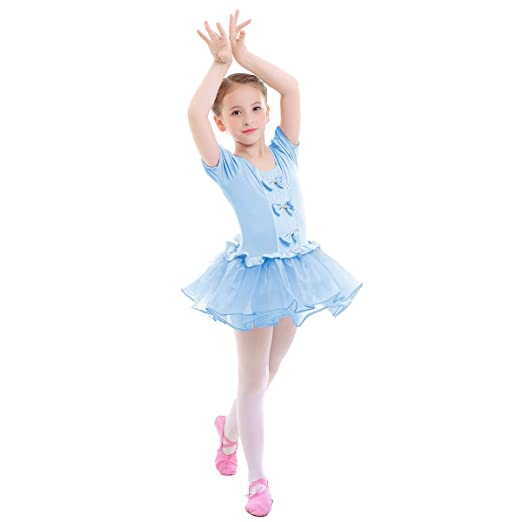 1601246be862 Amazon.com  IMEKIS Girls Ballet Tutu Dress Short Sleeve Bowknot ...