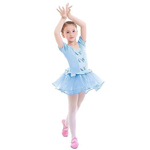 86bcb81f63e2 Amazon.com  IMEKIS Girls Ballet Tutu Dress Short Sleeve Bowknot ...