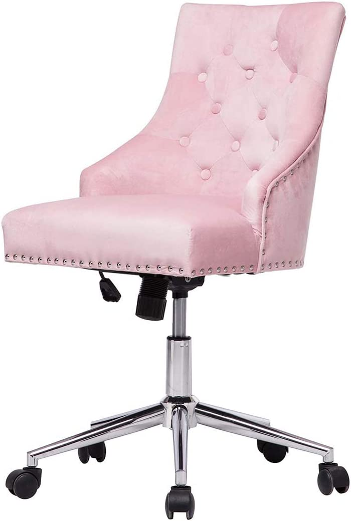 Velvet Home Office Desk Chairs Tufted Accent Chair with Wheels Comfy Computer Chair with Arms Task Swivel Fabric Chairs for Bedroom Living Room Pink