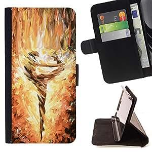 """For HTC One A9,S-type Pintura bailarín de la bailarina Llamas Arte"""" - Dibujo PU billetera de cuero Funda Case Caso de la piel de la bolsa protectora"""