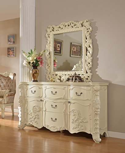 Meridian Furniture Novara-D Novara 5 Drawer + 2 Door Solid Wood Dresser with Traditional Hand Carved Designs, and Genuine Marble Top, Rich Pearl White Finish with Silver ()