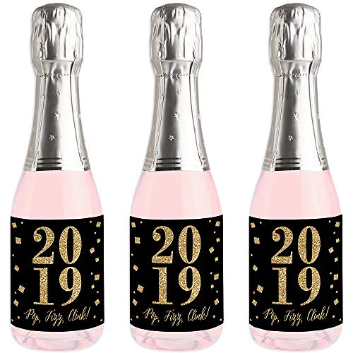 New Year's Eve - Gold - Mini Wine and Champagne Bottle Label Stickers - 2019 New Years Eve Party Favor Gift - Set of 16
