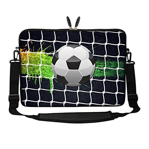Meffort Inc 15 15.6 inch Neoprene Laptop Sleeve Bag Carrying Case with Hidden Handle and Adjustable Shoulder Strap - Soccer Laptop Sleeve Football