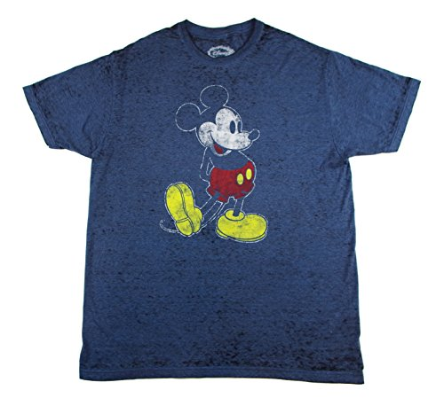 Mickey Mouse Retro Distressed-Look Adult Licensed TShirt in Dark Heather Blue - Mens Retro Look
