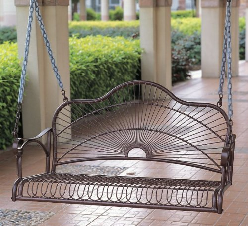 International Caravan Iron Bronze Hanging Porch Swing