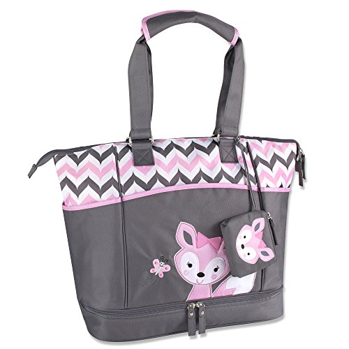 Baby Essentials Diaper Bag + Diaper Changing Kit with Portable Nap Mat – Pink/Grey Fox For Sale