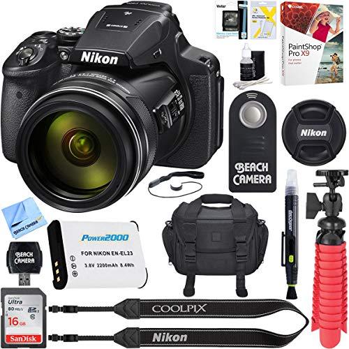 Nikon COOLPIX P900 16MP 83x Super Zoom 4k Wi-Fi GPS Digital Camera + 16GB Memory & Accessory Bundle (Best Superzoom Camera With Wifi)