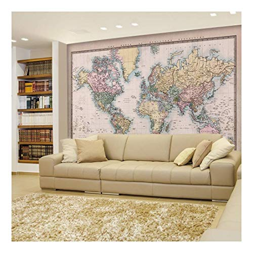 Full Color Antique Mercator Projection Political Map of The World Illustration Wall Mural