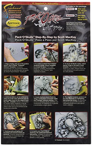Stencil Airbrush Set Template (Iwata-Medea Artool Skullz 2 Airbrush Template (Set of 3))