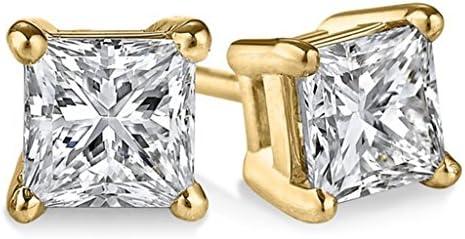 PARIKHS Princess cut Diamond stud Privilege Quality in 14k Yellow Gold 010 ctw VS2 clarity