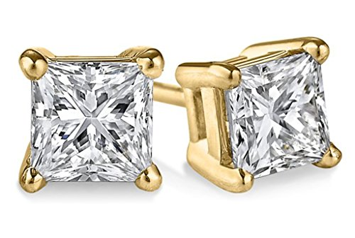 PARIKHS Princess cut Diamond stud Prime Quality 14k Yellow Gold (0.15ctw, Clarity-I1) 0.075 Ct Diamond