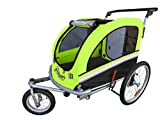 Booyah Large Pet Bike Trailer Dog Stroller & Jogger with Shocks MB - Green