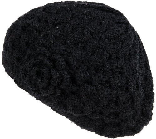 Nirvanna Designs CH709 Flower Knit Beret with Fleece, Black