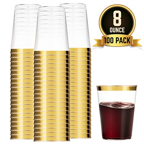 - 100 Gold Plastic Cups 8 Oz Clear Plastic Cups Tumblers Gold Rimmed Cups Fancy Disposable Wedding Cups Elegant Party Cups with Gold Rim