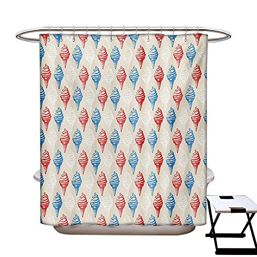 Vintage Shower Curtains Waterproof Dessert Theme Delicious Creamy Sugary Treats Illustration Ice Cream Fabric Bathroom Decor Set Hooks W69 x L75 Egg Shell Red Blue]()