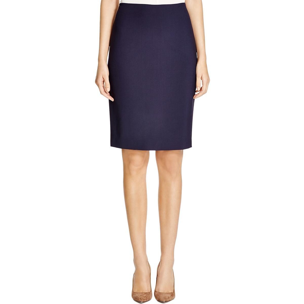 Elie Tahari Womens Penelope Skirt Wool A-Line Pencil Skirt Navy 16