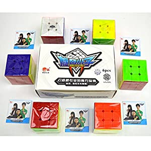 HJXD Cyclone Boys Magic Cube Set of 6-pack 3x3x3 Classical Speed Cube Stickerless Magic Cubes True Color