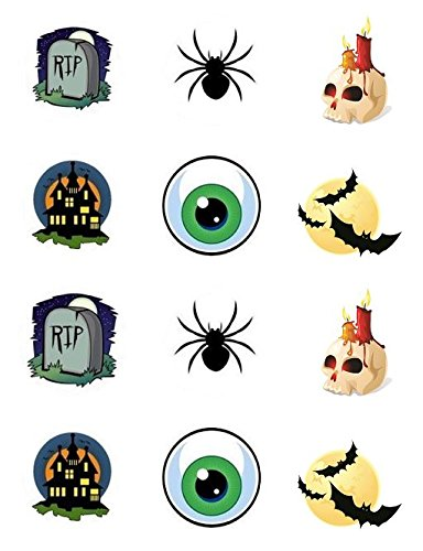 Halloween Spooky Edible Cupcake Toppers - Set of 12]()