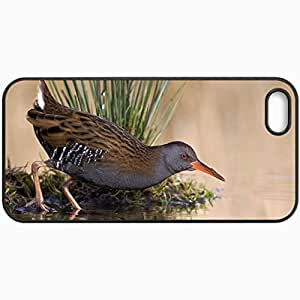 Customized Cellphone Case Back Cover For iPhone 5 5S, Protective Hardshell Case Personalized Bird Pond Lake Water Grass Reflection Black